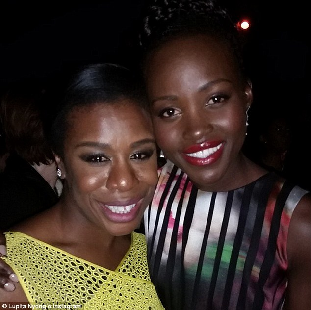 Congratulations: Lupita shared this picture on Instagram on January 25 congratulating friend Uzo Aduba, left, for winning a Screen Actors Guild Award