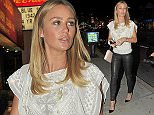 09.FEBRUARY.2015  - LOS ANGELES - USA *** EXCLUSIVE ALL ROUND PICTURES *** ALEX GERRARD SEEN ARRIVING WITH HER AGENT AT HOLLYWOOD HOTSPOT CHATEAU MARMONT IN LOS ANGELES, CALIFORNIA. ALEX, WHO WAS WEARING WET LOOK BLACK LEGGINGS AND A CHIFFON BLOUSE WITH TASSLES IS SET TO MOVE TO LA PERMANANTLY IN JULY WEN HER FOOTBALLER HUSBAND STEVEN GERRARD WILL BEGIN PLAYING FOR LA GALAXY. BYLINE MUST READ : XPOSUREPHOTOS.COM ***UK CLIENTS - PICTURES CONTAINING CHILDREN PLEASE PIXELATE FACE PRIOR TO PUBLICATION *** **UK CLIENTS MUST CALL PRIOR TO TV OR ONLINE USAGE PLEASE TELEPHONE  442083442007