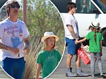 UK CLIENTS MUST CREDIT: AKM-GSI ONLY\nEXCLUSIVE: Red Hot Chili Peppers frontman Anthony Kiedis hangs out with his son, Everly Bear, at their local farmers market in Malibu, CA. Anthony was casually decked out in a white graphic tee, royal blue cut-off shorts, and what looked to be house slippers, while Everly wore a green t-shirt, grey leggings, and a grey slip on sneakers.\n\nPictured: Anthony Kiedis and Everly Bear Kiedis\nRef: SPL946411  080215   EXCLUSIVE\nPicture by: AKM-GSI / Splash News\n\n
