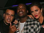 BEVERLY HILLS, CA - FEBRUARY 08:  (L-R) French Montana, Meek Mill, Khloe Kardashian and Chinx Drugz attend Meek Mill Official Grammy Party on February 8, 2015 in Beverly Hills, California.  (Photo by Johnny Nunez/WireImage)
