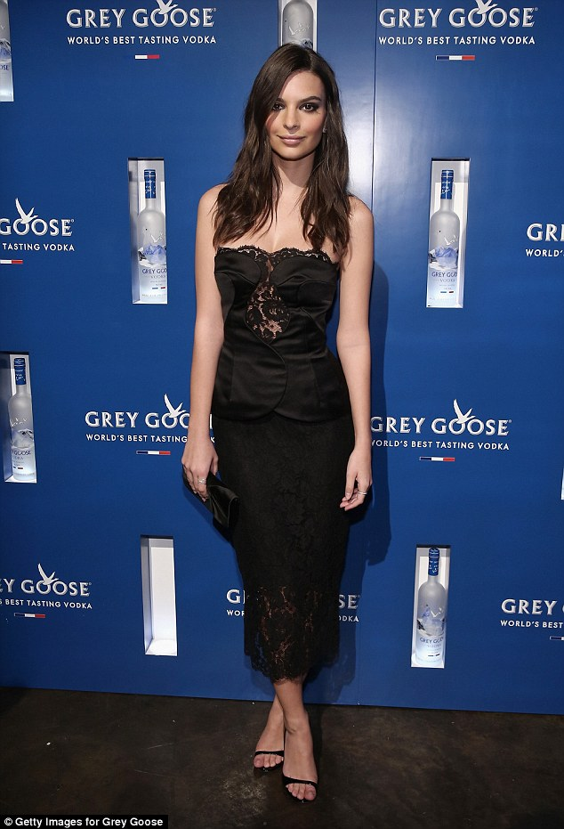 Look of lingerie: Emily attended Stadiumred's NYC Grammy Viewing Party last week in a lingerie-inspired dress