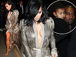 Kim Kardashian, Kanye West and Nori leaving LAX still dressed for the Grammys feb 8, 2015 X17online.com
