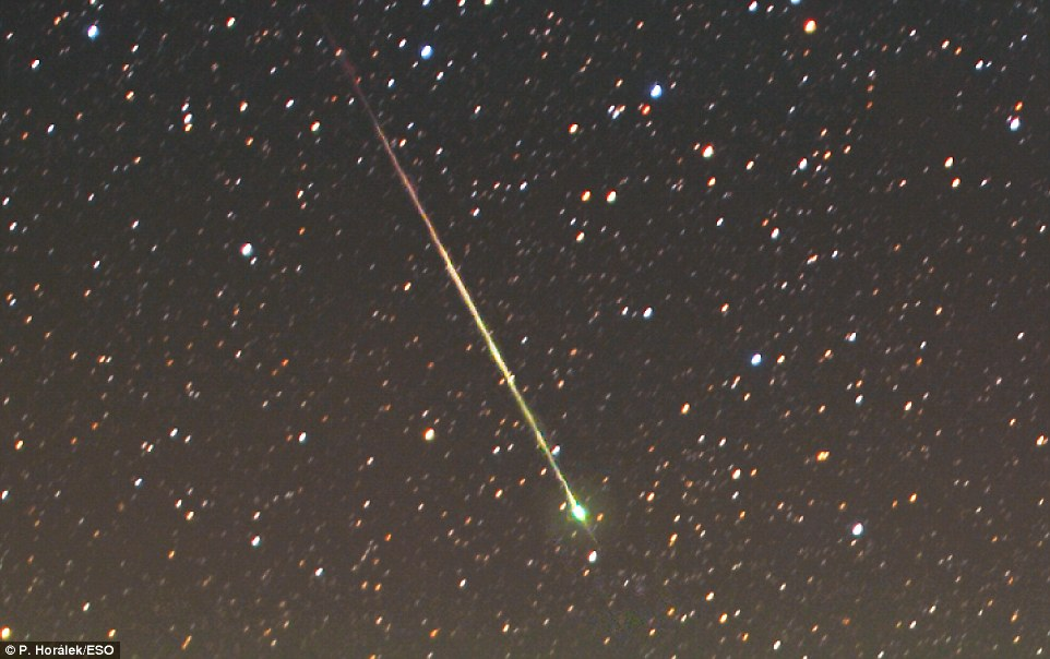 In a chance encounter, the image also revealed a meteor burning up in the atmosphere. Every day about 100 tons of meteoroids, which are fragments of dust and gravel and sometimes even big rocks, enter Earth's atmosphere