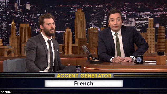 Continental twist: After Jimmy talked about sexy ice cream in Russian, Jamie's next accent was French