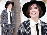 132487, EXCLUSIVE: Ellen Page suits up for a beach photo shoot in a stylish striped three piece and large black fedora. Los Angeles, California - Tuesday February 10, 2015.   Photograph: KVS, © PacificCoastNews. Los Angeles Office: +1 310.822.0419 sales@pacificcoastnews.com FEE MUST BE AGREED PRIOR TO USAGE