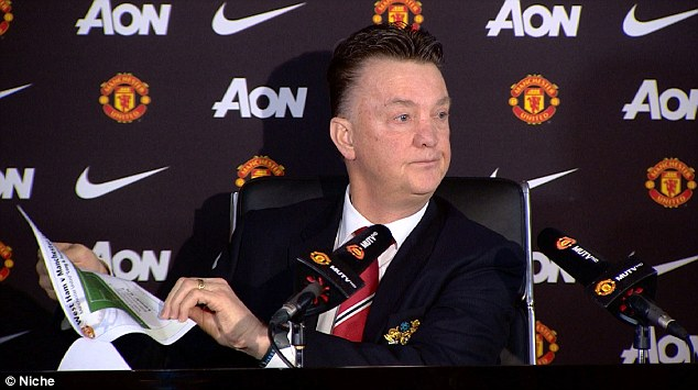 Van Gaal looks unimpressed as he tells a packed press conference about his tactics