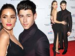 LOS ANGELES, CA - FEBRUARY 08:  Musician Nick Jonas (R) and Olivia Culpo arrive at the Universal Music Group Post Grammy Party presented by American Airlines and Citi at The Theatre at Ace Hotel Downtown LA on February 8, 2015 in Los Angeles, California.  (Photo by Amanda Edwards/WireImage)