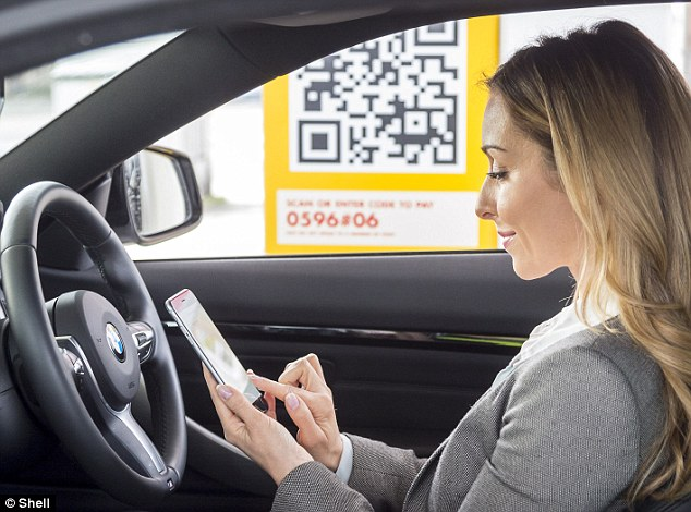 Later this year, customers at the majority of Shell's petrol stations will be able to use their smartphone to pay for fuel without leaving their car (illustrated).The petrol giant has partnered with PayPal to produce the free service available on iPhone and Android handsets