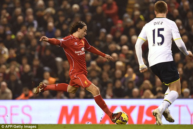 Lazar Markovic (left) fired home to give Liverpool the lead in tonight's crucial clash with Tottenham