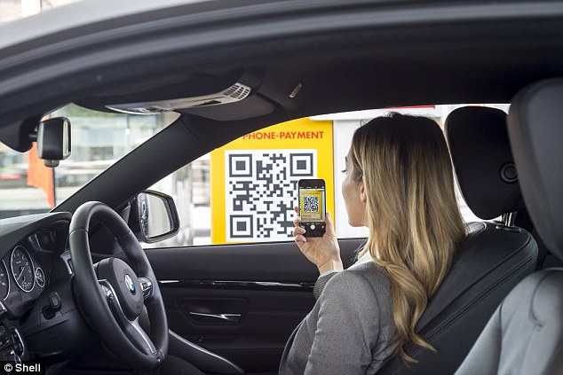 Customers will be able to use the service through either the Shell Motorist app or the PayPal app. Here, a women is shown using the app to choose the PayPal option and select the correct pump.The app then authenticates the transaction and the customer can then fill up and drive away