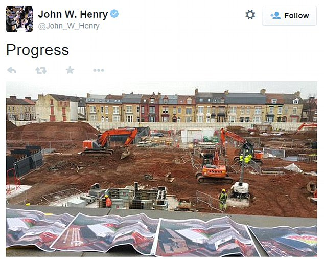 Henry posted this photo of the new stand being built at Anfield which would see the capacity rise to 54,000