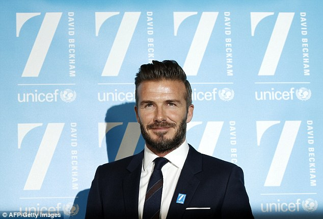 Former England captain David Beckham at an initiative with children's charity UNICEF in London on Monday