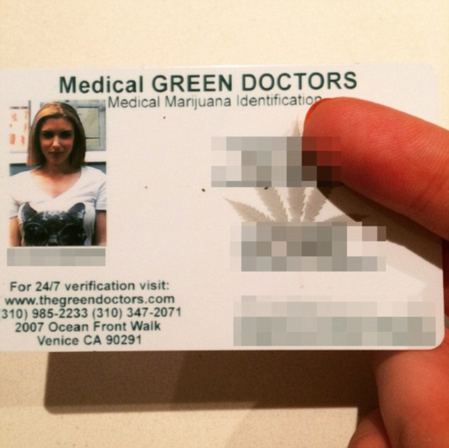 She's legit: On Tuesday night Gabi Grecko revealed she owns a medical marijuana card, explaining why the drug is a motif on her Instagram page