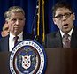 Department of Investigation Commissioner Mark Peters, right, speaks next to Manhattan District Attorney Cyrus Vance during a press conference to announce the indictment of 50 defendants involved in widespread housing fraud, Tuesday, Feb. 10, 2015, in New York. Authorities say 16 city inspectors and dozens of landlords and contractors formed a network that exchanged $450,000 in payoffs to get safety violations dismissed and procure phony orders to toss out tenants. (AP Photo/Bebeto Matthews)