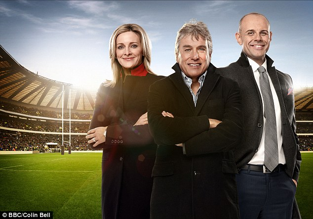 John Inverdale (centre) is currently presenting the BBC's coverage of the Six Nations rugby