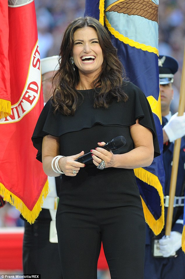 Not worried:Idina, pictured at the Super Bowl earlier this month, laughed off the mispronunciation and even said she was glad it happened