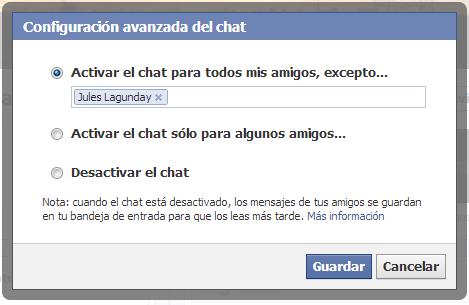 Desactivar chat para unos amigos por facebook iniciar sesion