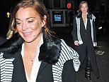 09.FEBRUARY.2015  - LONDON  - UK *** EXCLUSIVE ALL ROUND PICTURES *** AMERICAN ACTRESS LINDSAY LOHAN ENJOYS DINNER AT NOBU RESTAURANT IN BERKELEY SQUARE, LONDON.  LINDSAY WAS SEEN LEAVING BY THE BACK DOOR AT AROUND 11PM. BYLINE MUST READ : XPOSUREPHOTOS.COM ***UK CLIENTS - PICTURES CONTAINING CHILDREN PLEASE PIXELATE FACE PRIOR TO PUBLICATION *** **UK CLIENTS MUST CALL PRIOR TO TV OR ONLINE USAGE PLEASE TELEPHONE  442083442007