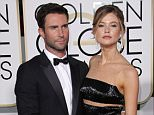Mandatory Credit: Photo by Jim Smeal/BEI/REX (4375571ez).. Adam Levine and Behati Prinsloo.. 72nd Annual Golden Globe Awards, Arrivals, Los Angeles, America - 11 Jan 2015.. ..