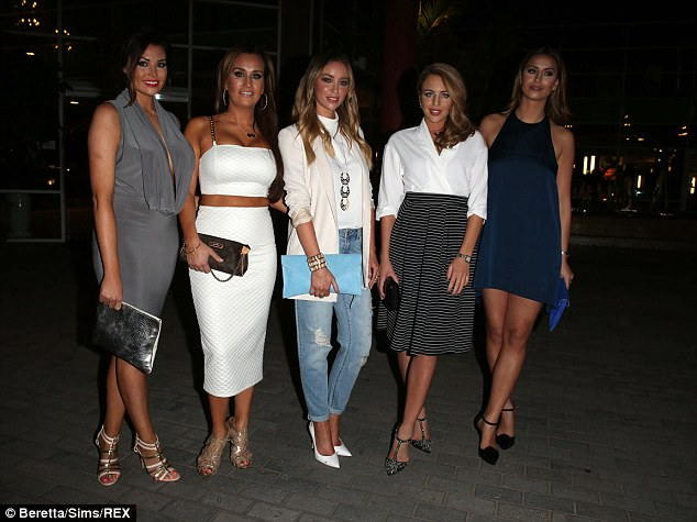 Line-up: The girls cut a glamorous figure as they hit the town