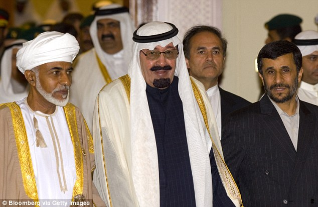 Elder statesman: Qaboos, pictured with Saudi's King Abdullah in 2007, is the region's longest serving leader