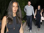 Beverly Hills, CA - New couple Olivia Munn and Aaron Rogers are all smiles as they leave a sushi dinner date at Matsuhisa in Beverly Hills.  The 34-year-old actress and her Green Bay Packers quarterback boyfriend held hands as they headed to their awaiting ride. Olivia looked cute in a black dress and matching black sandals, while Aaron went casual in a grey hoodie and jeans. AKM-GSI           February 11, 2015 To License These Photos, Please Contact :    Steve Ginsburg  (310) 505-8447  (323) 423-9397  steve@akmgsi.com  sales@akmgsi.com    or    Maria Buda  (917) 242-1505  mbuda@akmgsi.com  ginsburgspalyinc@gmail.com