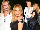 Friends Melanie Griffith and Rosanna Arquette leaving dinner  outside G Baldi February 11, 2015 X17online.com