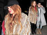 12.FEB.2015 - LONDON - UK *** EXCLUSIVE ALL ROUND PICTURES *** LINDSAY LOHAN HAD DINNER WITH A MYSTERY MAN AND LADY VICTORIA HERVEY AT THE FAMOUS NOVIKOV RESTAURANT IN LONDON. BOTH LINDSAY AND LADY VICTORIA WORE FUR COATS TO THE PRIVATE LOUNGE BYLINE MUST READ : XPOSUREPHOTOS.COM ***UK CLIENTS - PICTURES CONTAINING CHILDREN PLEASE PIXELATE FACE PRIOR TO PUBLICATION *** **UK CLIENTS MUST CALL PRIOR TO TV OR ONLINE USAGE PLEASE TELEPHONE 0208 344 2007**