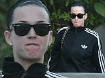 Picture Shows: Katy Perry  February 12, 2015    A makeup-free Katy Perry is seen leaving an office building with her friend in Hollywood, California.     Katy is entering a diva phase after performing at the Super Bowl it's reported that she is sending out cease and desist letters to anyone making Left Shark costumes or figurines.     Today, Katy looked less her usual glamorous self, and a bit more casual in an Adidas jacket and sunglasses.    Exclusive - All Round  UK RIGHTS ONLY    Pictures by : FameFlynet UK    2015  Tel : +44 (0)20 3551 5049  Email : info@fameflynet.uk.com