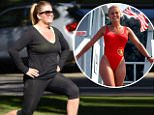 Actress Nicole Eggart of Baywatch and Charles in Charge fame is spotted working out with her trainer near the Santa Monica steps in Santa Monica, Ca Caption: EXCLUSIVE: Ac