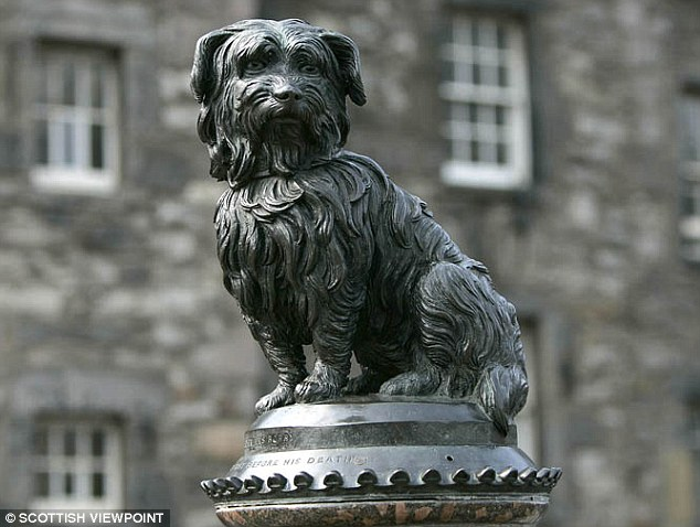 Hoax: The memorial statue of Greyfriars Bobby in Edinburgh. New research has revealed the tale of the faithful dog to be a publicity stunt by local businesses