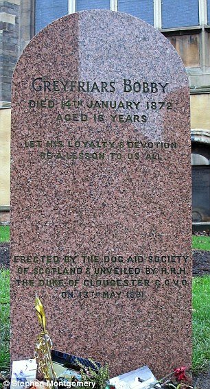 Tributes: The grave put up in memory of Greyfriars Bobby, left, and a painting of the 'second' Bobby, right