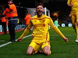 LONDON, ENGLAND - FEBRUARY 14:  Adam Lallana of Liverpool celebrates scoring the second goal during the FA Cup fifth round match between Crystal Palace and Liverpool at Selhurst Park on February 14, 2015 in London, England.  (Photo by Clive Rose/Getty Images)