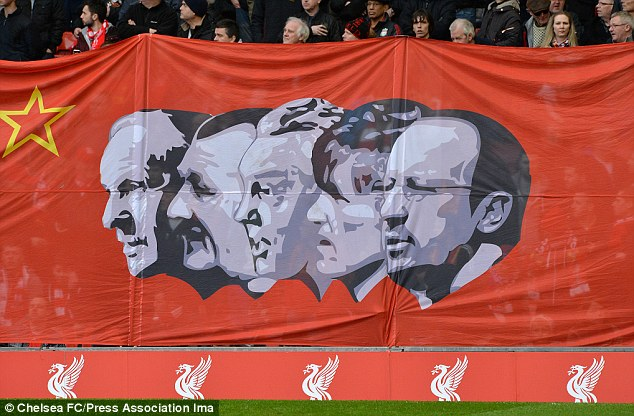 Club: Liverpool fans unveiled a banner which had Benitez's head alongside some of their former managers