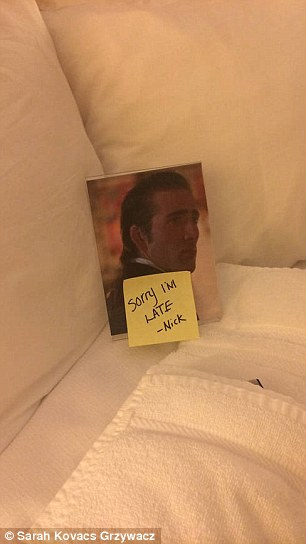 When her requested Nicolas Cage photo and bath towels were not delivered by 8pm, the hotel staff leaped into action.