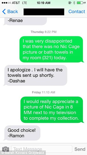 One of the attentive staff members quickly replied to her text and send up a photo, towels and a personalised note.