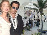 """EXCLUSIVE: *** PREMIUM EXCLUSIVE.\nJohnny Depp and Amber Heard celebrated their wedding on the Lone Ranger star's idyllic island in the Bahamas on Sunday.\nAbout two dozen guests watched the pair exchange vows under a white marquee on a picturesque beach on Little Hall's Pond Cay. They reportedly officially got married at the couple's home in Los Angeles last Tuesday.\nAmong the guests were Depp's children from his 14-year relationship with French actress-singer Vanessa Paradis: Lily-Rose, 15, and Jack, 12, of whom he and Paradis share custody. \nDepp, 51, and Heard, 28, first met when they played on-screen lovers in 2011's The Rum Diary, and got engaged three years later.\nDepp recently said of his new bride of NBC's Today Show:  """"She's a wonderful girl. She's sharp as a tack. A southern belle and sweet as can be, and very good for me.""""\nDepp bought the 45-acre island for a reported $3.6 million in 2004.\n\nRef: SPL944458  090215   EXCLUSIVE\nPicture by: Splash News"""