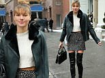 Australian fashion model Jessica Hart, wearing a mini skirt and over-the-knee length boots, attends Tory Burch fashion show in New York City.\n\nPictured: Jessica Hart\nRef: SPL954022  170215  \nPicture by: Christopher Peterson/Splash News\n\nSplash News and Pictures\nLos Angeles: 310-821-2666\nNew York: 212-619-2666\nLondon: 870-934-2666\nphotodesk@splashnews.com\n