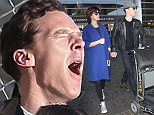 Benedict Cumberbatch and  his pregnant wife who he married on Valentine's Day  Sophie Hunterhold hands at LAX catching a flight   feb 16, 2015 X17online.com