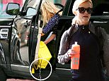 Ooops! Reese Witherspoon poured water in her 4000 dollar handbag . Reese and colored hair daughter Ava were at dance class feb 16, 2015 X17online.com