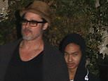 Please contact X17 before any use of these exclusive photos - x17@x17agency.com   Brad Pitt takes his sons Maddox and Pax to japonese guitarist Miyavi concert in Hollywood wednesday night at El Rey theater in Hollywood Feb 18, 2015 X17online.com