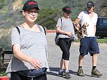 UK CLIENTS MUST CREDIT: AKM-GSI ONLY EXCLUSIVE: Heavily pregnant Milla Jovovich displays her beautiful baby bump on a hike with husband Paul W.S. Anderson. She looked happy and relaxed while out with their two pet pooches; the 39-year-old supermodel showed off her shape in a gray top and cropped black leggings.  Pictured: Milla Jovovich and Paul W.S. Anderson Ref: SPL955262  180215   EXCLUSIVE Picture by: AKM-GSI / Splash News