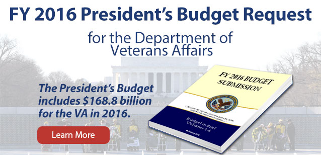 Image of the pearl harbor memorial ceremony with text that reads: FY 2016 President's Budget Request for the Department of Veterans Affairs - The President's Budget includes $168.8 billion for the VA in 2016. Learn More