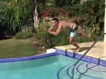 Kevin Pieterson dives into swimming pool in Barbados 20/02/15
