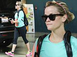 Santa Monica, CA - Fitness junkie Reese Witherspoon exits the gym in Santa Monica in a bright teal shirt and black capri pants. The Oscar nominee for Best Actress seems to be gearing up for the big night on Sunday by preparing to look her best for the star-studded affair. \n  \nAKM-GSI       February 20, 2015\nTo License These Photos, Please Contact :\nSteve Ginsburg\n(310) 505-8447\n(323) 423-9397\nsteve@akmgsi.com\nsales@akmgsi.com\nor\nMaria Buda\n(917) 242-1505\nmbuda@akmgsi.com\nginsburgspalyinc@gmail.com