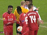 """****Ruckas Videograbs****  (01322) 861777 *IMPORTANT* Please credit ITV for this picture. 19/02/15 Liverpool v Besiktas - UEFA Europa League Live, last night (19th Feb), ITV SEEN HERE: Grabs from last night's match which saw Mario Balotelli take the ball from Jordan Henderson to take the penalty, late on in the game. The fiasco seemed to anger Daniel Sturridge while Jordan Henderson also appeared to be frustrated by it. Liverpool club captain Steven Gerrard was in the studio working as a pundit and he said that Mario showed """"disrespect"""" and that """"rules are rules"""" and that Jordan Henderson should have taken it.  Office  (UK)  : 01322 861777 Mobile (UK)  : 07742 164 106 **IMPORTANT - PLEASE READ** The video grabs supplied by Ruckas Pictures always remain the copyright of the programme makers, we provide a service to purely capture and supply the images to the client, securing the copyright of the images will always remain the responsibility of the publisher at all times. Standard terms,"""