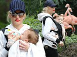 Los Angeles, CA - Gwen Stefani spends the day at the Los Angeles Zoo with her 11-month-old son Apollo.\nAKM-GSI           February 20, 2015\nTo License These Photos, Please Contact :\n \n Steve Ginsburg\n (310) 505-8447\n (323) 423-9397\n steve@akmgsi.com\n sales@akmgsi.com\n \n or\n \n Maria Buda\n (917) 242-1505\n mbuda@akmgsi.com\n ginsburgspalyinc@gmail.com