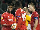 Feb 19th 2015 - Liverpool, UK -  LIVERPOOL V BEIKTAS -   Player argue before Liverpool Balotelli goal PIcture by Ian Hodgson/Daily Mail