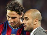 Inter Milan's coach Mourinho with coach of Barcelona Pep Guardiola as he gives instructions to Zlatan Ibrahimovic.