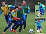 ST ALBANS, ENGLAND - FEBRUARY 24: (L-R) Alex Oxlade-Chamberlain, Alexis Sanchez and Santi Cazorla of Arsenal during a training session at London Colney on February 24, 2015 in St Albans, England. (Photo by Stuart MacFarlane/Arsenal FC via Getty Images)